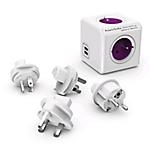 Bloc mutliprise Allocacoc PowerCube 4 prises 2 ports USB Blanc, Violet