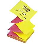 6 Blocs de notes repositionnables   Post it®   Z Notes   Néon alternés   76 X 76 mm   jaune & rose