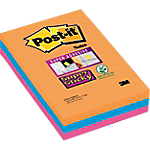 Notes adhésives 3M Super Sticky 101 (H)  x  152 (l) mm Assortiment