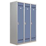 Vestiaire Industrie Salissante Pierre Henry 3 colonnes 120 (L) x 50 (l) x 180 (H) cm Gris, bleu