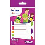 Etiquettes plastifiées Avery Smart 860 (H) mm multicolores fluo 24 étiquettes   24