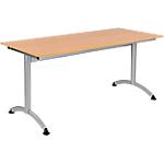 Table de réunion Modulo 160 x 70 x 75 cm Argenté, Imitation Hêtre