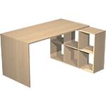 Bureau et bibliothèque Artexport Burocolor 104,1 (L) x 140 (P) x 72,4 (H) cm Imitation Chêne
