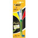Stylo à bille 4 couleurs Fluo - Office depot