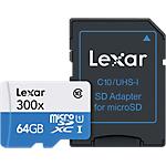 Carte mémoire Micro SD Lexar 300x Class 10 + Adaptateur 64 GB Noir
