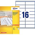 100 Feuilles d'étiquettes blanches pour copieur   Avery   35 x 105 mm