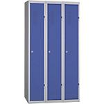Vestiaire Industrie Propre monobloc 3 colonnes 90 (L) x 50 (l) x 180 (H) cm Bleu