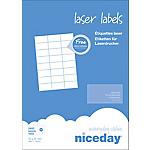 Étiquettes d'adresses Laser 24 étiquettes par feuille niceday 70 (H) x 37 (l) mm Blanc   2400