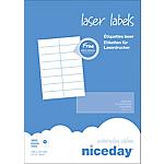 Étiquettes d'adresses Laser 16 étiquettes par feuille niceday 105 (H) x 37 (l) mm Blanc   1600