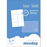 Étiquettes d'adresses 8 étiquettes par feuille niceday 105 (H) x 72 (l) mm Blanc   800