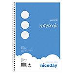 Cuaderno espiral Niceday Azul Cuadrícula 4x4 mm microperforado Folio 21,5 (a) x 31 (h) cm 60 g