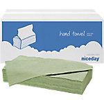 Toallas de mano recicladas Niceday Plegadas en V 1 ply verde 23 (l) x 24,5 (a) cm 20 unidades