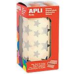 Gomets estrellas en rollo APLI Plata 2360 etiquetas por paquete