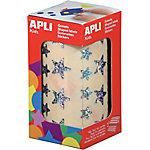 Gomets estrellas en rollo APLI Holográfico 2360 etiquetas por paquete