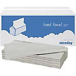 Toallas de mano recicladas Niceday Plegadas en V 1 ply natural 23 (l) x 24,5 (a) cm 20 unidades