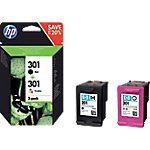 Cartucho de tinta HP original 301 negro & 3 colores n9j72ae paquete 2