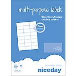 Etiqueta multifunción Niceday 980461 blanca 70 (a) x 37 (h) mm 2400 etiquetas por paquete