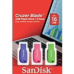 Clés USB SanDisk Cruzer Blade 16 Go Assortiment   3