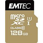 Carte mémoire EMTEC Gold+ 128 Go Noir, Doré