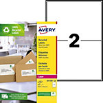 Étiquettes adresses Rectangle Laser 2 étiquettes par feuille Avery LR7168 143,5 (H) x 199,6 (l) mm Blanc   200