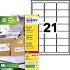 2100 Etiquettes laser recyclées   Avery   LR7160   63,5 x 38,1 mm