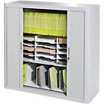 Armoire portes à rideaux   H. 104 x L. 110 cm   Paperflow   easyOFFICE   décor uni blanc