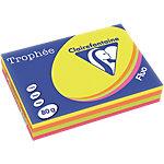 Ramette de papier couleurs fluo assorties de 500 feuilles   Clairefontaine   Trophee   A4   80g