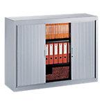 Armoire portes à rideaux H.100 x L.120 cm   Realspace PRO   décor uni Aluminium