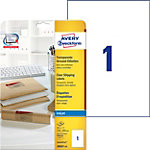 Étiquettes Jet d'encre Polyester Rectangle 25 étiquettes Avery J8567 25 297 (H) x 210 (l) mm Transparent   25