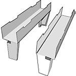 Lot de 2 pieds de traverse H.12,5 x P.50 cm   Gris   Pour vestiaires industriels