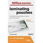Pochettes de plastification 2 x 125 (250)  µm Office Depot ID 8,6 (H) x 5,4 (l) cm Transparent   100