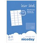 1800 étiquettes laser   Niceday   63,5 x 46,6 mm