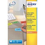 Etiquettes à code couleur Rectangle 24 étiquettes par feuille Avery L6035 20 33,9 (H) x 63,5 (l) mm Jaune   20