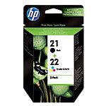Cartouche jet d'encre HP D'origine 21, 22 Noir et 3 Couleurs SD367AE Duopack