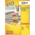 Étiquettes code couleur Rectangle 24 étiquettes par feuille Avery DP24J 100 70 (H) x 35 (l) mm Jaune flo   2400