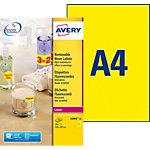 Étiquettes Papier 20 étiquettes Avery L6006 20 297 (H) x 210 (l) mm Jaune fluo   20