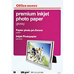 50 Feuilles de papier photo premium jet d'encre brillant   Office Depot   A4   280 g