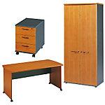 Pack Jazz   Gautier Office   Bureau droit pieds panneaux 160 cm + Caisson mobile 3 tiroirs + Armoire L. 80 cm 2 portes