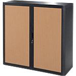 Armoire portes à rideaux   H. 104 x L. 110 cm   Paperflow   easyOFFICE   décor bois hêtre noir