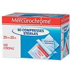 Compresses de gaze stériles Mercurochrome 20 (H) x 20 (l) cm Bleu, rouge   60