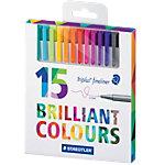 Feutres fins STAEDTLER triplus Brilliant Colours Assortiment   15