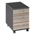 Caisson mobile 3 tiroirs Gautier Office Jazz 42 (L) x 58 (P) x 59 (H) cm Imitation chêne