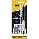 Stylo à bille et stylet BIC Stylus Grip 4 Colours™ Bleu, noir, rouge, gris