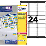 Étiquettes timbre Papier 240 étiquettes Avery 33,9 (H) x 63,5 (l) mm Blanc   240