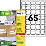Étiquettes adresses recyclées 65 étiquettes par feuille Avery LR7651  21,2 (H) x 38,1 (l) mm Blanc   6 500