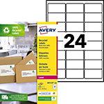 Étiquettes adresses recyclées 24 étiquettes par feuille Avery LR7159  33,9 (H) x 63,5 (l) mm Blanc   2400