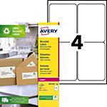 Étiquettes adresses recyclées 4 étiquettes par feuille Avery LR7169 99,1 (H) x 139 (l) mm Blanc   400