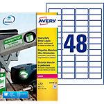 Étiquettes ultra résistantes Avery  L4778 20  48 étiquettes par feuille 21,2 (H) x 45,7 (l) mm Blanc   960 étiquettes