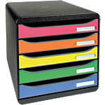 Module de rangement Exacompta 309798D 27,1 (H) x 34,7 (P) cm Noir, tiroirs aux couleurs assorties