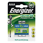 Piles ENERGIZER Alcaline Rechargeables Power Plus AAA 1.5 V   4
